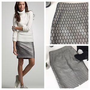 J Crew Skirt Pencil Wool Silk Blend Gray Silver